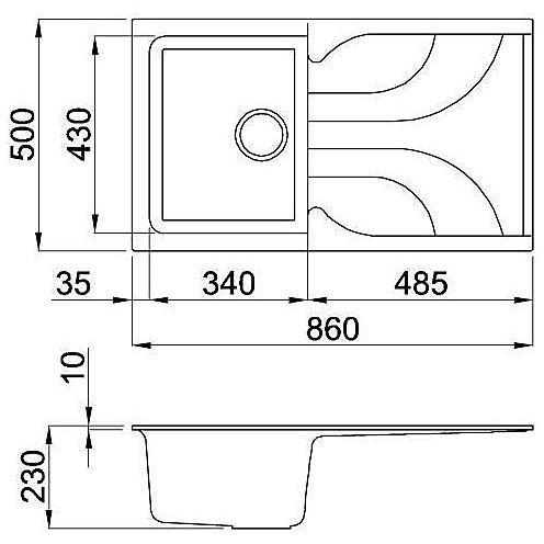lme40079 elleci lavello ego 400 86x50 1 vasca aluminium 79