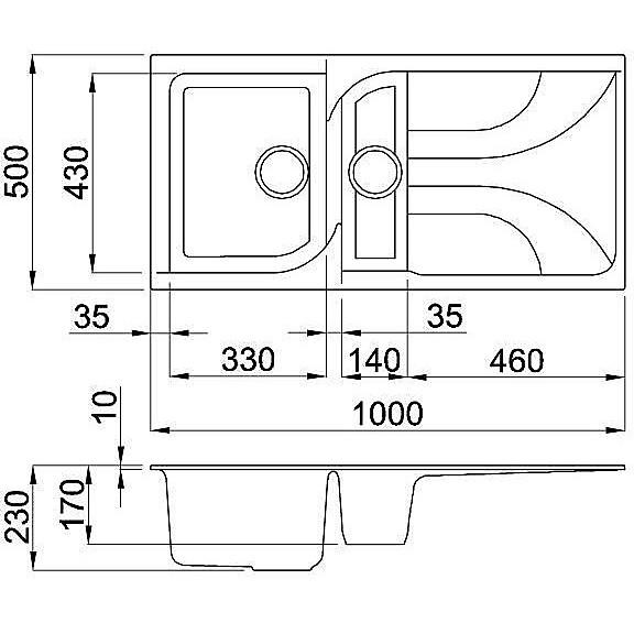 lme47573 elleci lavello ego 475 100x50 1+1/2 vasche titanium 73