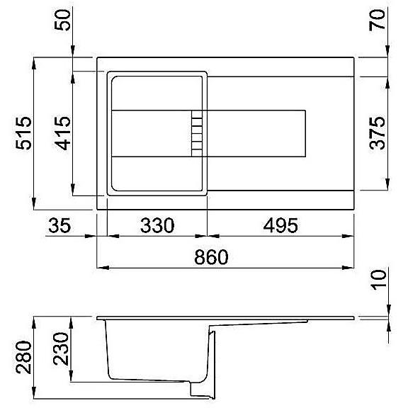 lmi40073 elleci lavello sirex 400 86x51,6 1 vasca titanium 73 meccanico vasca sx