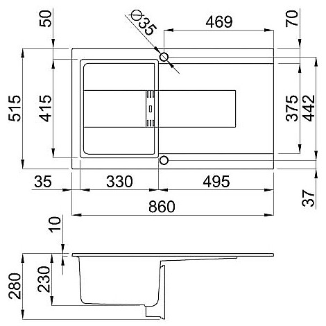 lmi40073smt elleci lavello sirex 400 86x51,6 1 vasca titanium 73 meccanico