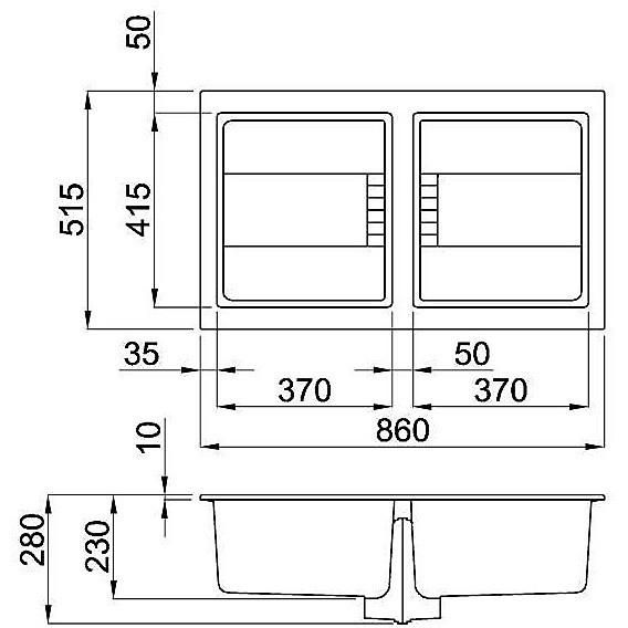 lmi45073 elleci lavello sirex 450 86x51,6 2 vasche titanium 73 meccanico