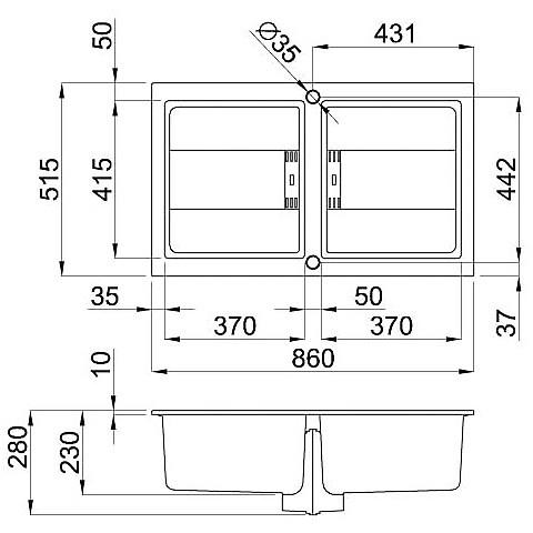 lmi45073smt elleci lavello sirex 450 86x51,6 2 vasche titanium 73 meccanico