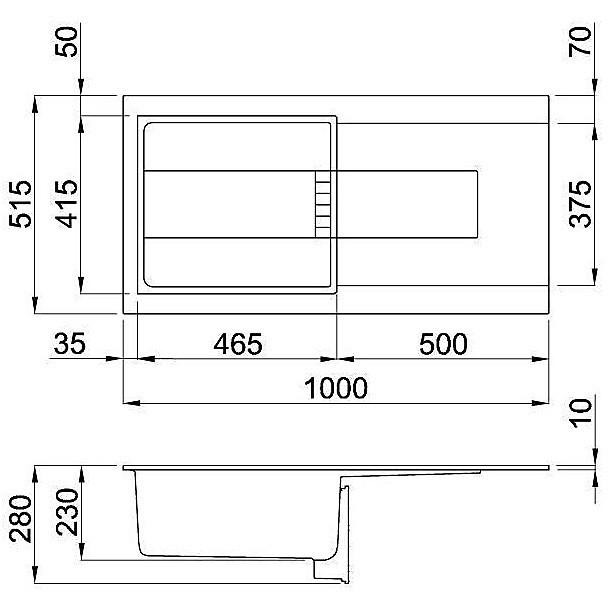 lmi48073 elleci lavello sirex 480 100x51,6 1 vasca titanium 73 meccanico vasca sx