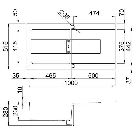 lmi48073smt elleci lavello sirex 480 100x51,6 1 vasca titanium 73 meccanico