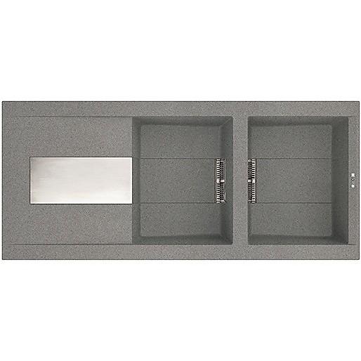 lmi50073dx elleci lavello sirex 500 116x51,6 2 vasche titanium 73 meccanico vasca dx