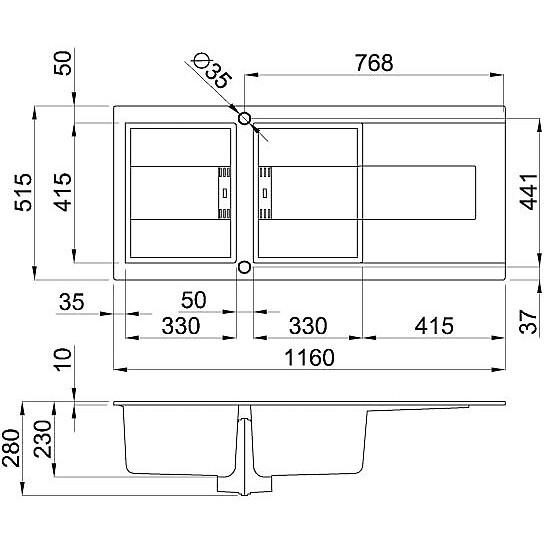 lmi50073smt elleci lavello sirex 500 116x51,6 2 vasche titanium 73 meccanico