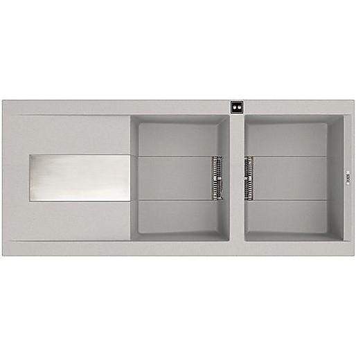 lmi50079dx elleci lavello sirex 500 116x51,6 2 vasche aluminium 79 meccanico vasca dx