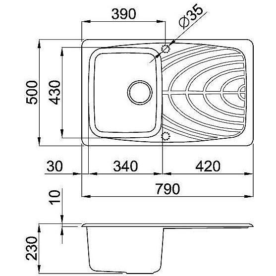 lmm30072 elleci lavello master 300 79x50 1 vasca rame 72