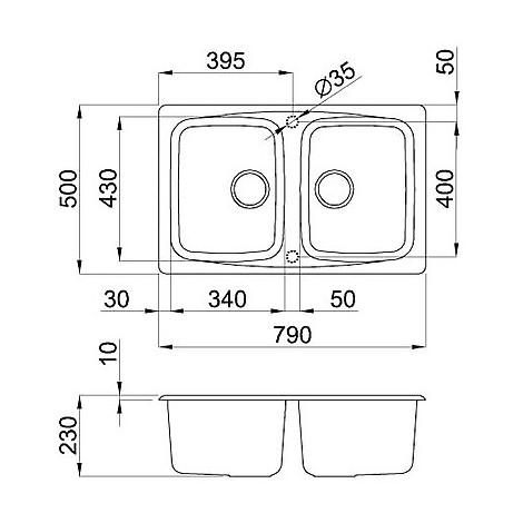 lmm35070 elleci lavello master 350 79x50 2 vasche ghisa 70