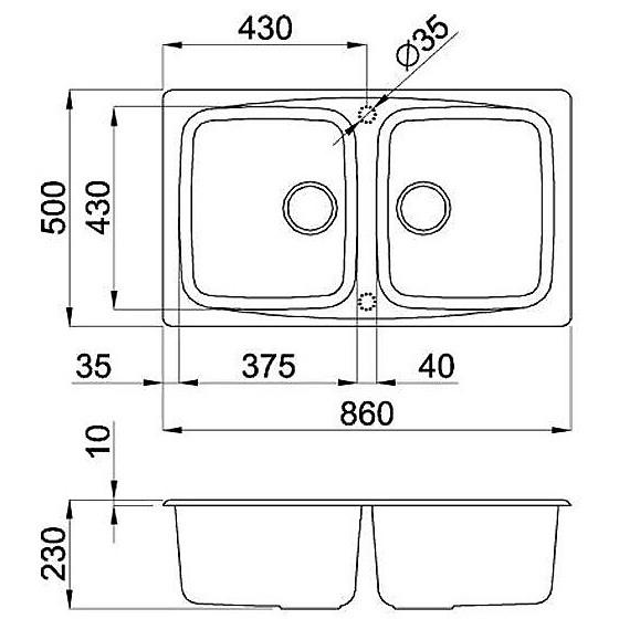 lmm45079 elleci lavello master 450 86x50 2 vasche aluminium 79