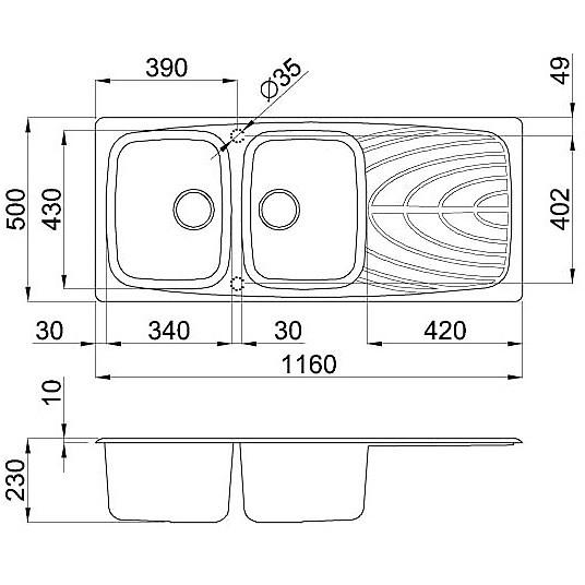 lmm50071 elleci lavello master 500 116x50 2 vasche alluminio 71