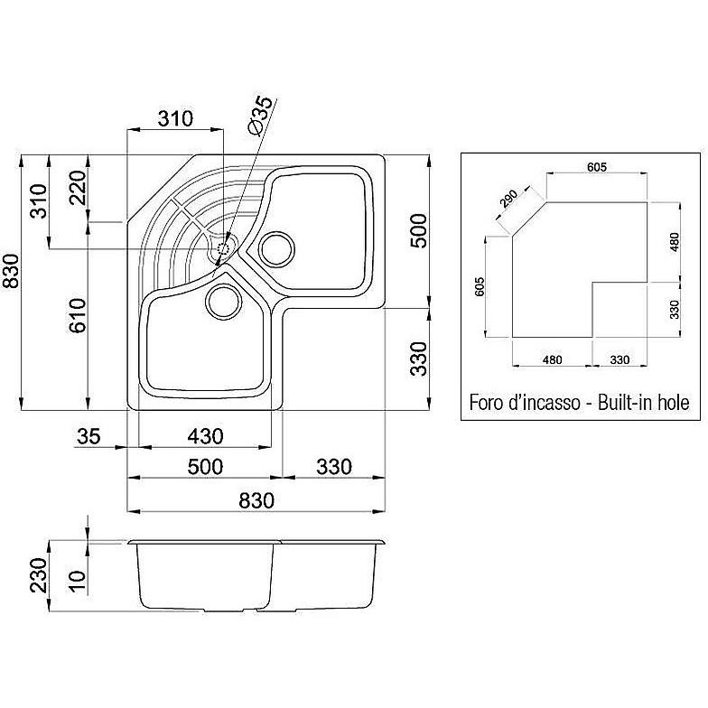 lmmcor79 elleci lavello master corner 83x83 2 vasche aluminium 79