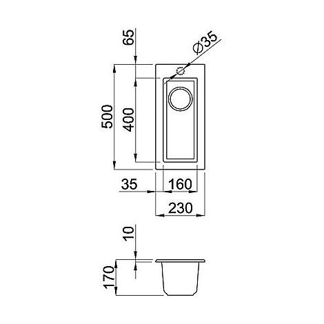 lmq05073bso elleci lavello quadra 50 23x50 1 vasca titanium 73 sotto top