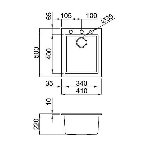 lmq10073 elleci lavello quadra 100 41x50 1 vasca titanium 73