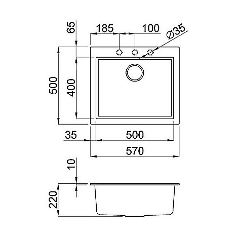 lmq10579bso elleci lavello quadra 105 54x44 1 vasca aluminium 79 sotto top