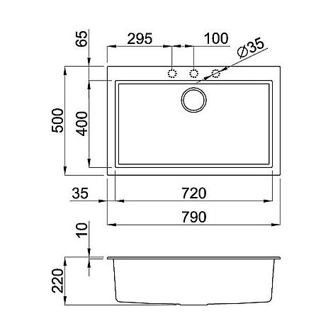 lmq13073bso elleci lavello quadra 130 76x44 1 vasca titanium 73 sotto top