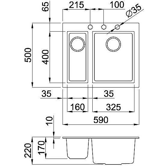 lmq15070 elleci lavello quadra 150 59x50 2 vasche ghisa 70