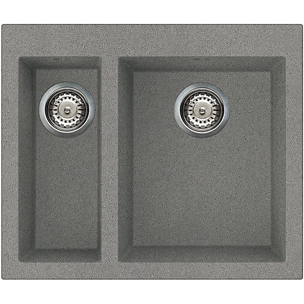 lmq15073 elleci lavello quadra 150 59x50 2 vasche titanium 73