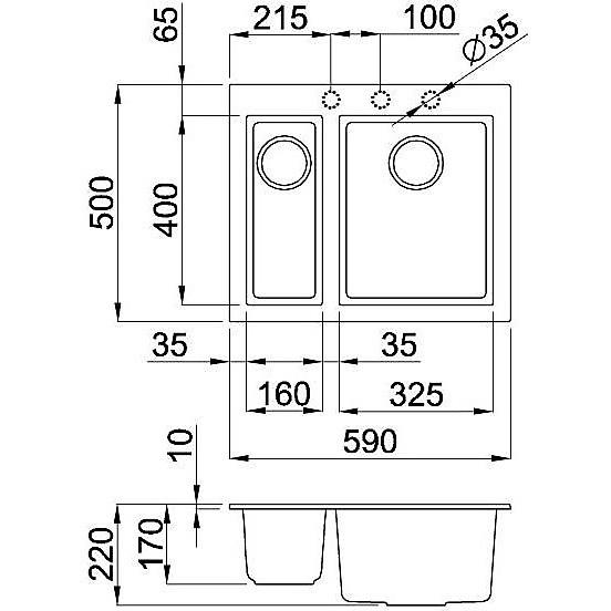 lmq15073bso elleci lavello quadra 150 59x50 2 vasche titanium 73 sotto top