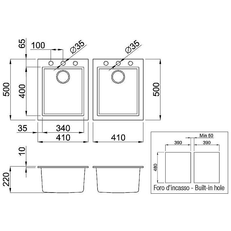 lmq20079bso elleci lavello quadra 200 2 vasche aluminium 79 sotto top