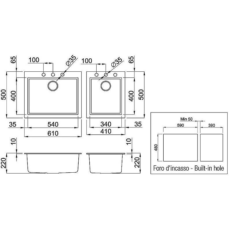 lmq21079 elleci lavello quadra 210 2 vasche aluminium 79