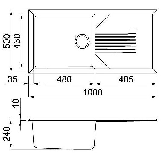 lmt48073 elleci lavello tekno 480 100x50 1 vasca titanium 73