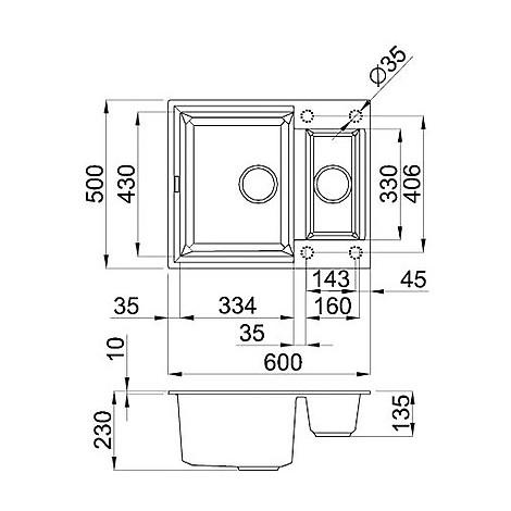 lmy15073 elleci lavello easy 135 68x50 2 vasche titanium 73