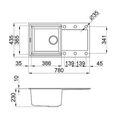lmy29073 elleci lavello easy 290 78x43.5 1 vasca titanium 73
