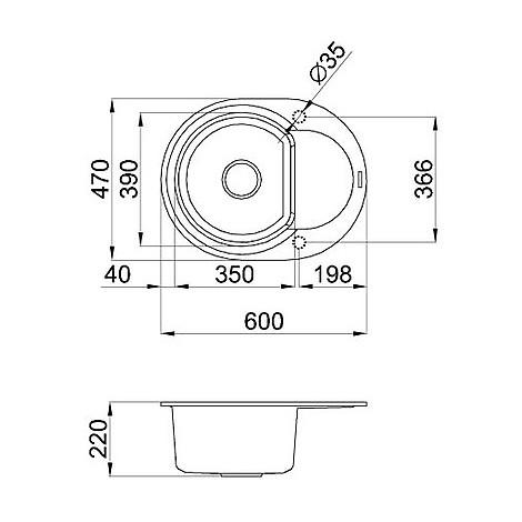 lmyr6073 elleci lavello easy round 600 60x47 1 vasca titanium 73