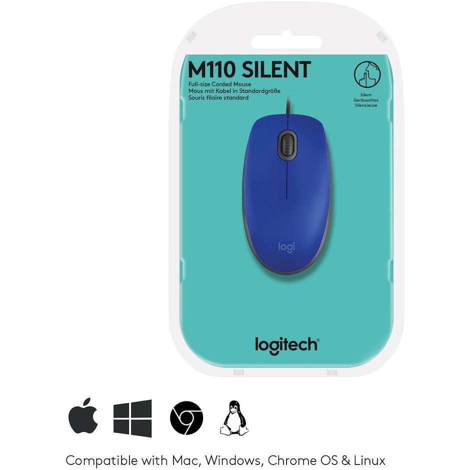 logitech  m110 silent - blue - emea