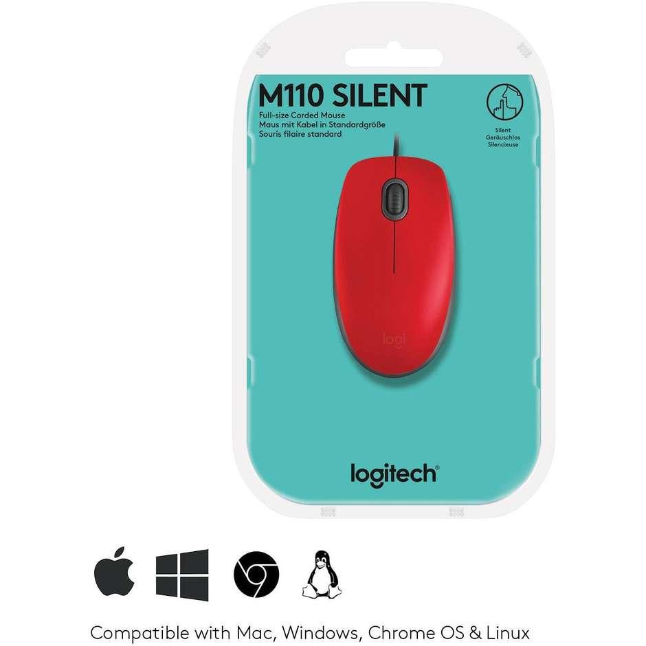 logitech  m110 silent - red - emea