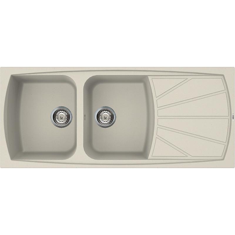 lsl50014 elleci lavello living 500 116x50 2 vasche bianco antico 14