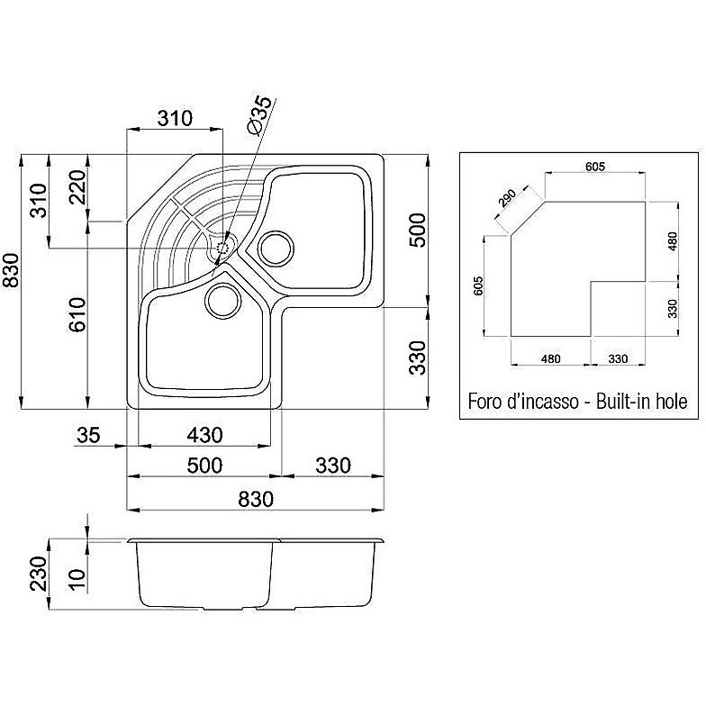 lsmcor11 elleci lavello master corner 83x83 2 vasche bianco 11