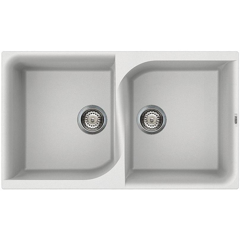 lve45096 elleci lavello ego 400 86x50 2 vasche white 96