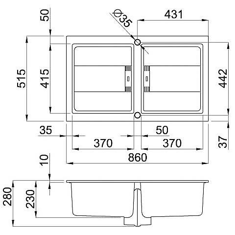 lvi45097smt elleci lavello smart 450 86x51,6 2 vasche silver 97 meccanico