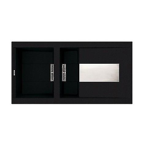 lvi47586 elleci lavello sirex 475 100x51,6 1+1/2 vasche black 86 meccanico vasca sx