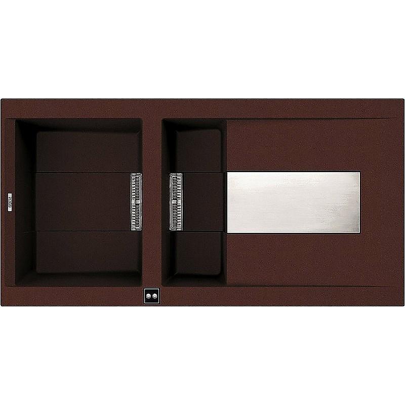 lvi47590smt elleci lavello smart 475 100x51,6 1+1/2 vasche chocolate 90 meccanico