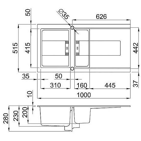 lvi47592smt elleci lavello smart 475 100x51,6 1+1/2 vasche old white 92 meccanico