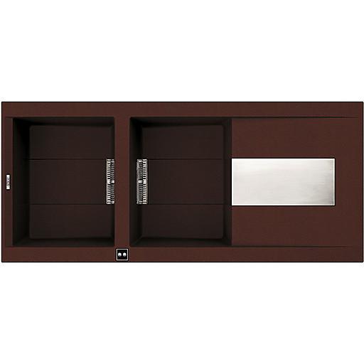 lvi50090 elleci lavello sirex 500 116x51,6 2 vasche chocolate 90 meccanico vasca sx