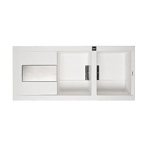 lvi50096dx elleci lavello sirex 500 116x51,6 2 vasche white 96 meccanico vasca dx