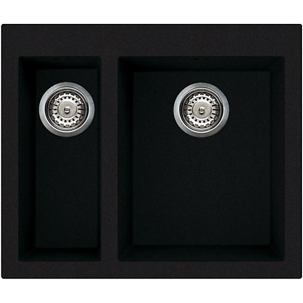 lvq15086 elleci lavello quadra 150 59x50 2 vasche black 86