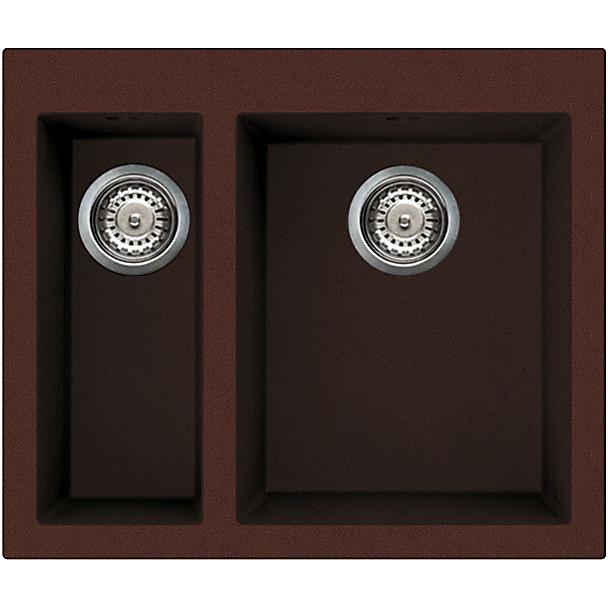 lvq15090 elleci lavello quadra 150 59x50 2 vasche chocolate 90