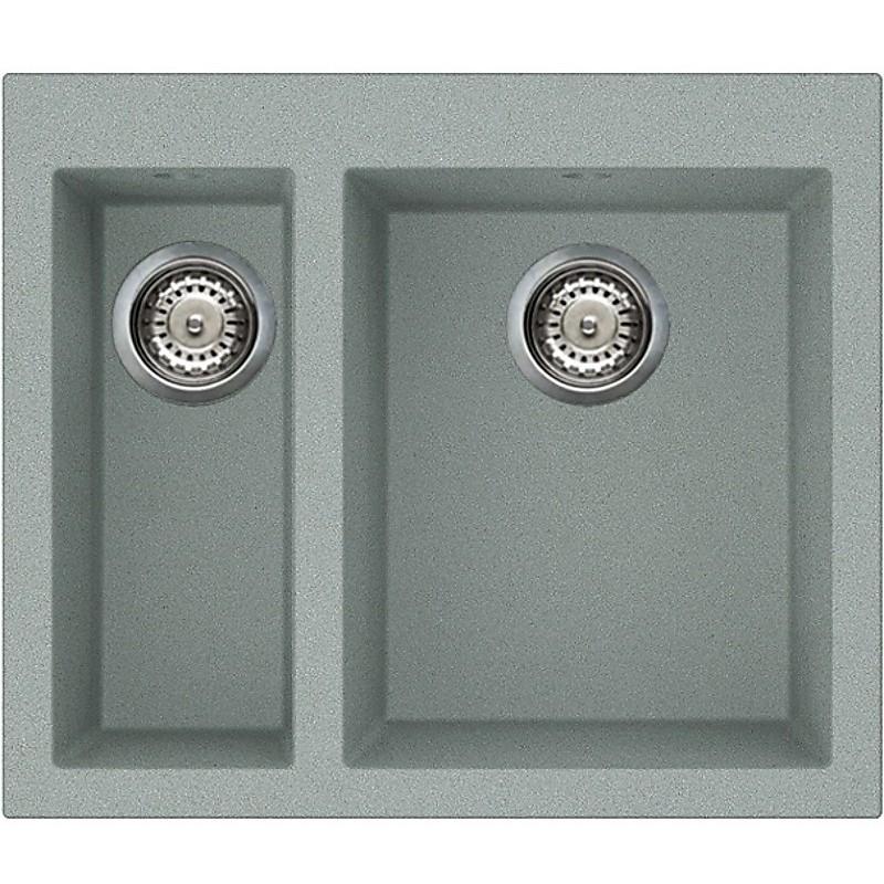lvq15097 elleci lavello quadra 150 59x50 2 vasche silver 97
