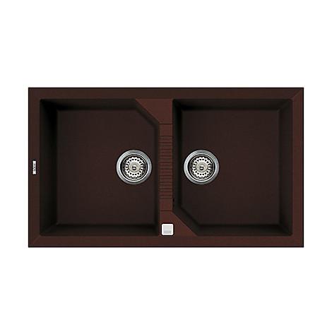 lvt45090 elleci lavello tekno 450 86x50 2 vasche chocolate 90