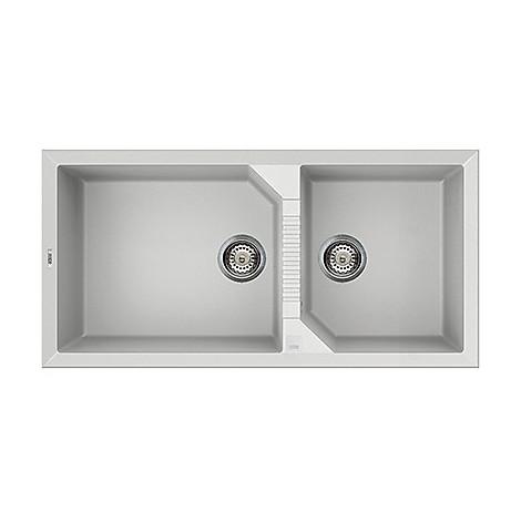 lvt49096 elleci lavello tekno 490 100x50 2 vasche white 96