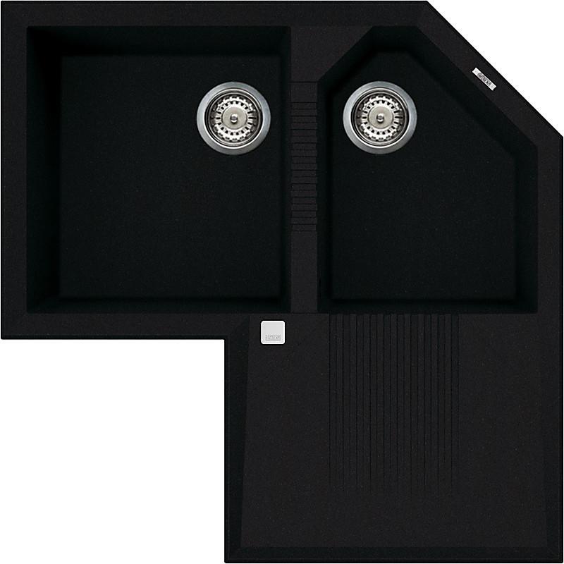 lvtcor86 elleci lavello tekno corner 83x83 2 vasche black 86