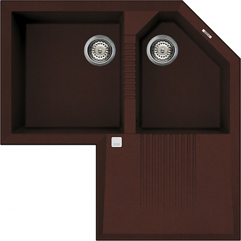 lvtcor90 elleci lavello tekno corner 83x83 2 vasche chocolate 90
