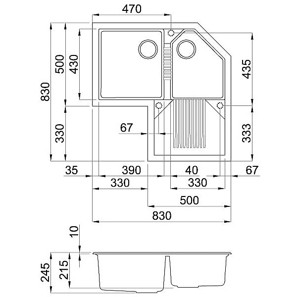 lvtcor94 elleci lavello tekno corner 83x83 2 vasche ice 94