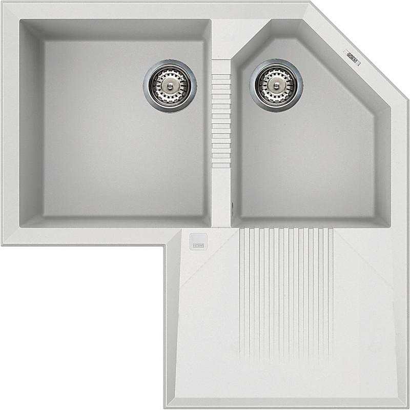 lvtcor96 elleci lavello tekno corner 83x83 2 vasche white 96