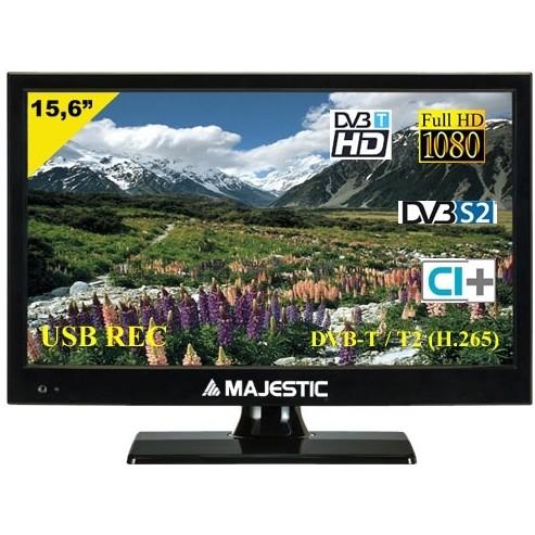 """Majestic TVD-215 S2 LED MP10 Tv LED 15.6"""" Full HD DVB-T/T2/S/S2/C classe A colore nero"""